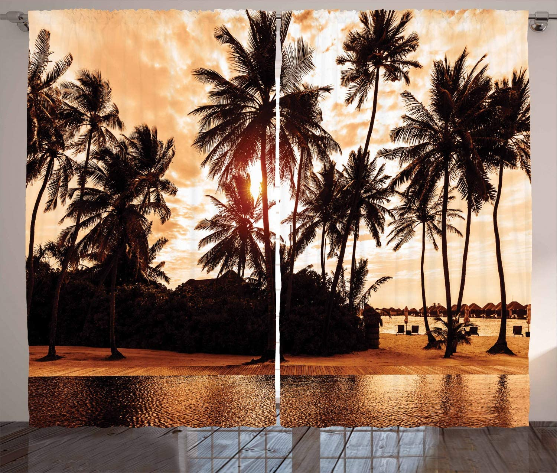 "Ambesonne Beach Curtains, Tropic Ocean Sea Love Bora Bora Island Palms Art for Nature Lovers Sunset Scene, Living Room Bedroom Window Drapes 2 Panel Set, 108"" X 84"", Orange Brown"