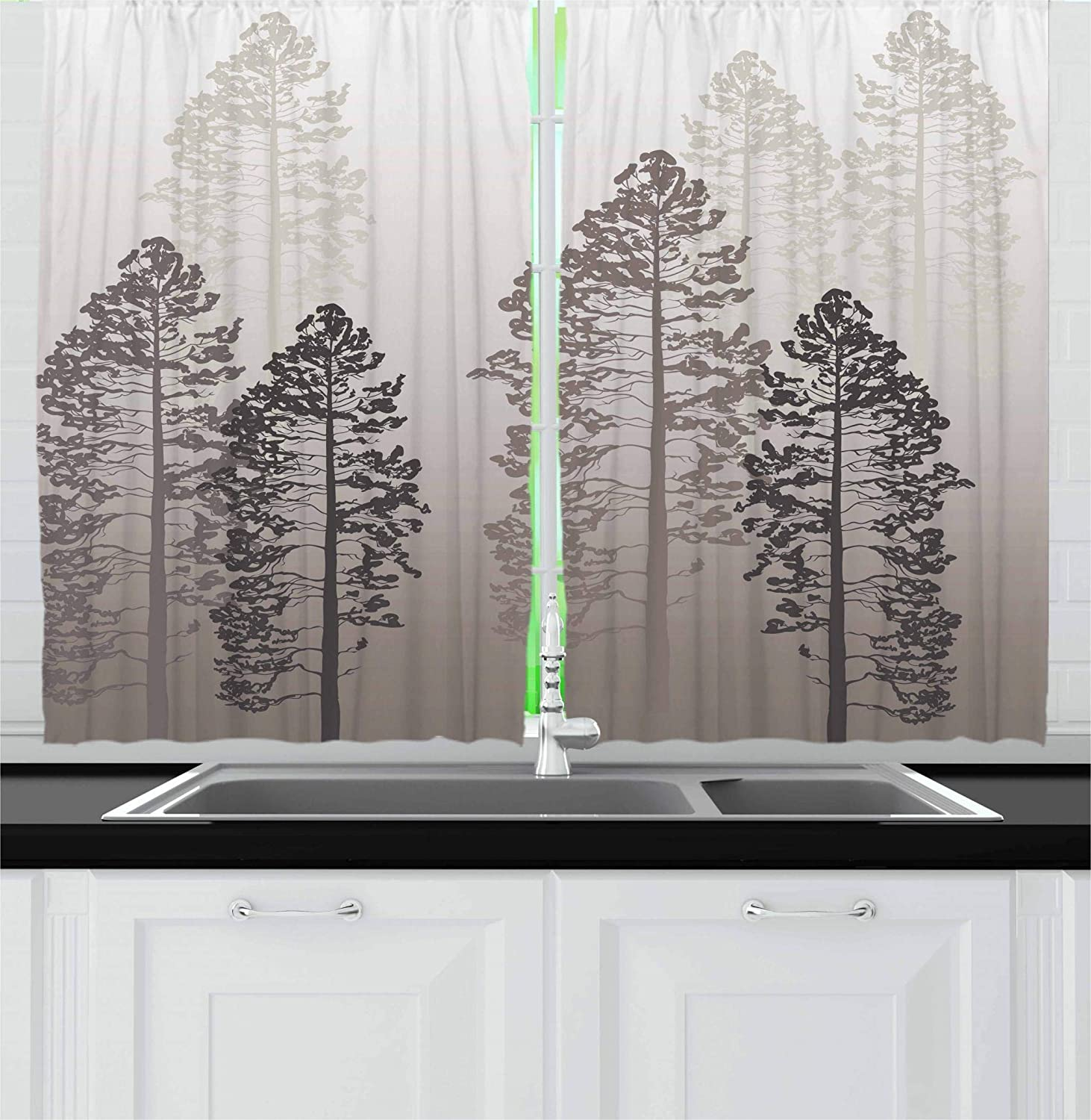 Ambesonne Country Kitchen Curtains, Pine Trees in The Forest on Foggy Seem Ombre Backdrop Wildlife Adventure Artwork, Window Drapes 2 Panel Set for Kitchen Cafe, 55 W X 39 L Inches, Warm Taupe