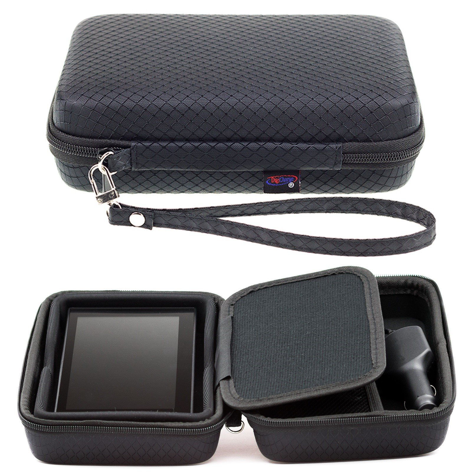 Digicharge® Black Hard Carrying Case For Garmin Drive DriveSmart 60LM 60LMT 61LMT-S 61LM RV 660LMT Nuvi 68 67 68LM 67LM 2639LMT 2639 Fleet 670 660 GPS Sat Nav With Accessory Storage and Lanyard