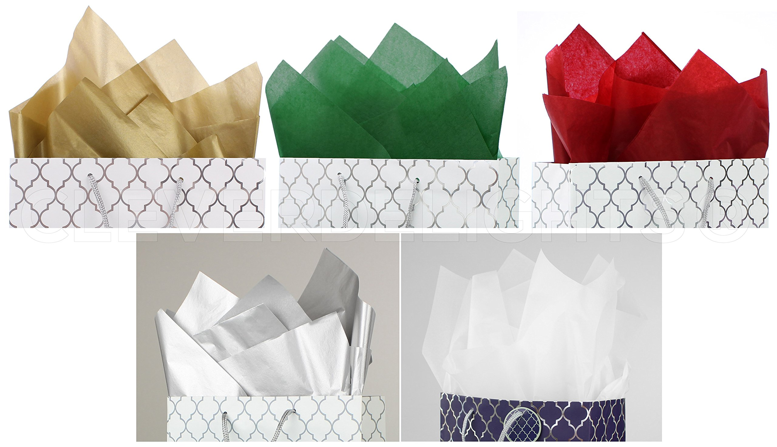 CleverDelights Premium Tissue Paper - 100 Sheets - Mixed Colors - 20'' x 30'' - Metallic Gold Metallic Silver Red Green Bright White by CleverDelights (Image #1)