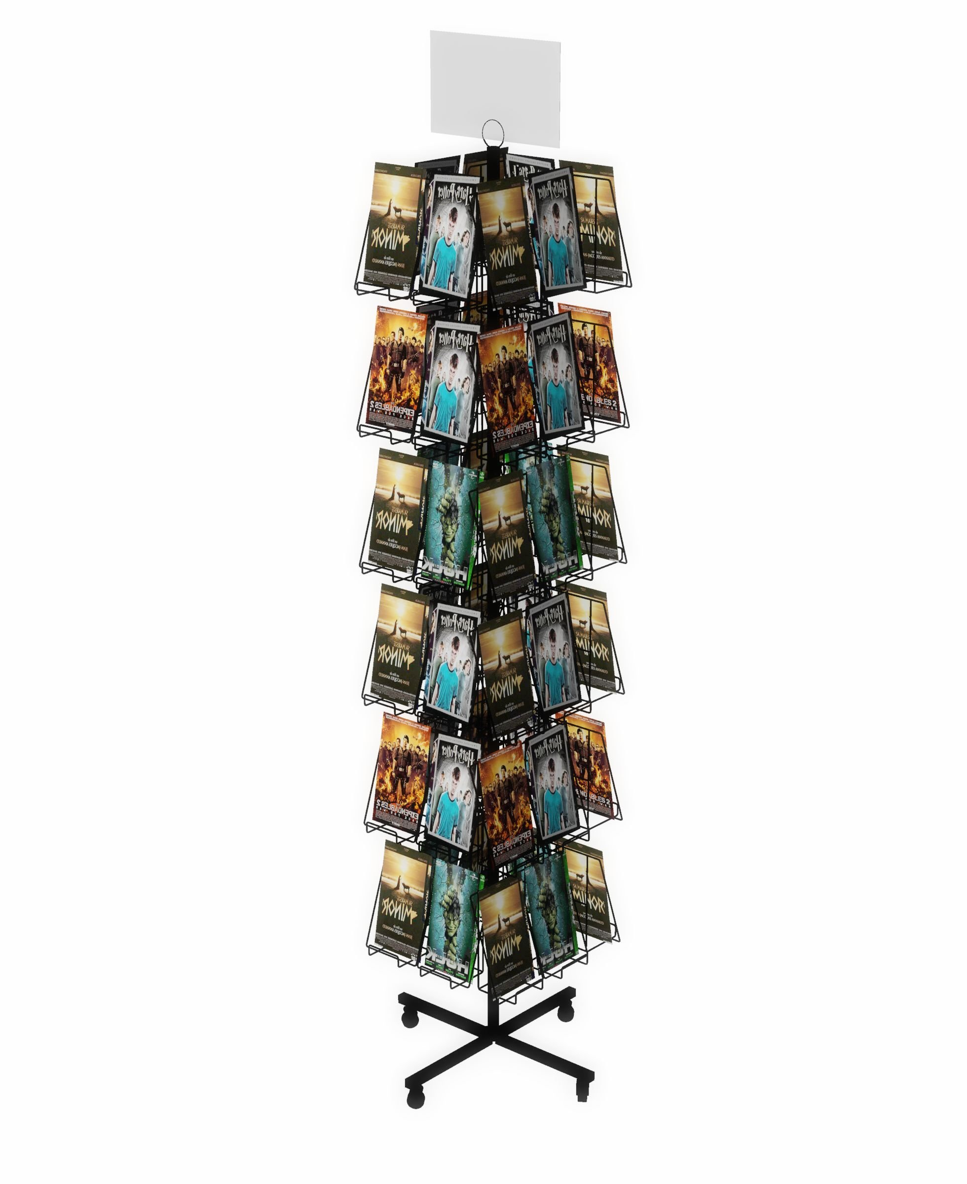 Fixture Displays Rotating Wire CD Rack w/ Sign Clip, Floorstanding, 5.6'' Pocket Full-View DVD CD Greeting Card, 48 Pockets - Black 19348!