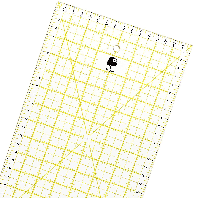 OfficeTree Righello universale per patchwork e per taglierina circolare - Per cucire, fare bricolage con misure e tagli precisi - Trasparente - 60 cm x 16 cm iLP GmbH