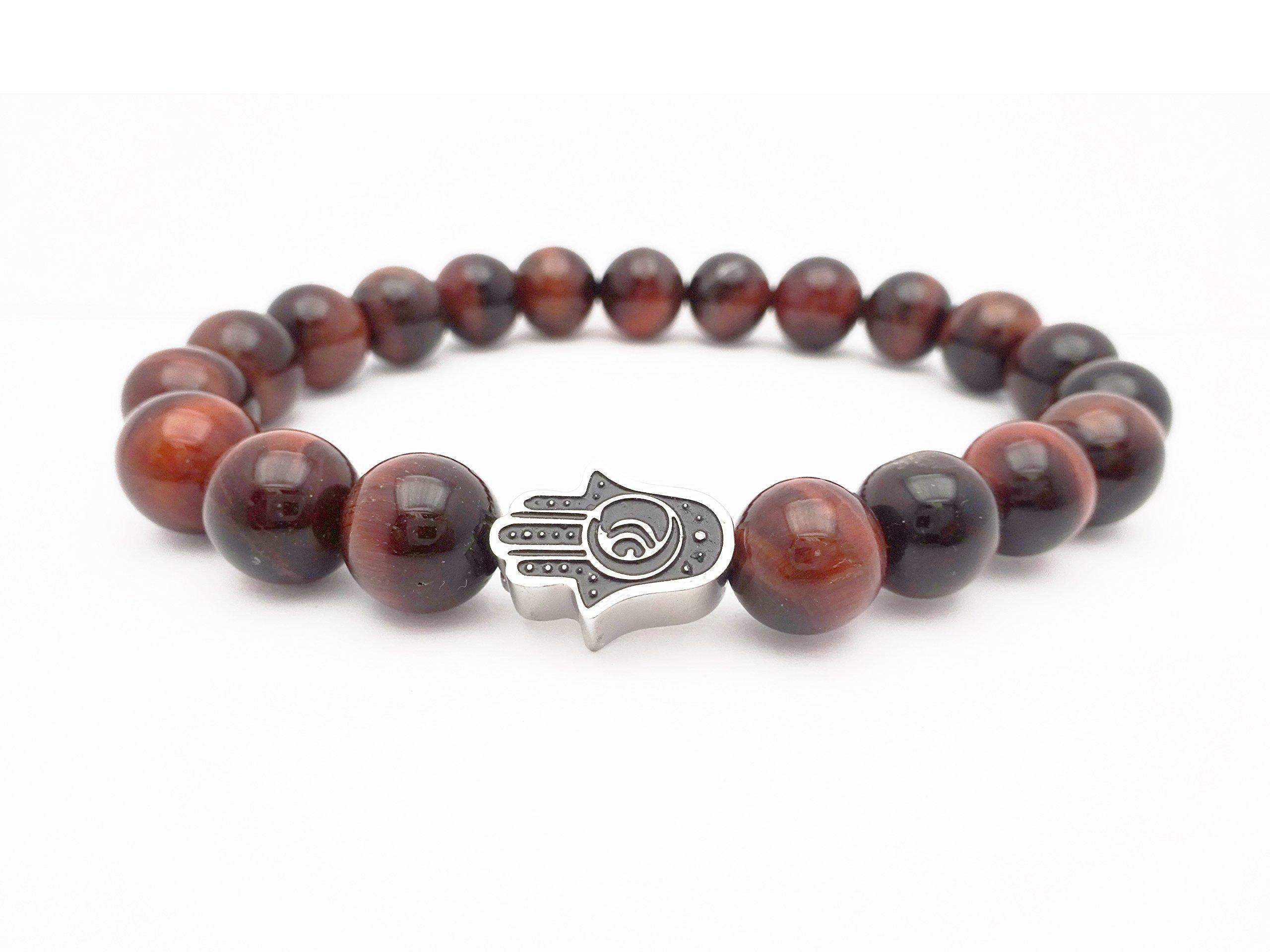 Eye of the Tiger Reddish-Brown Bead Bracelet with Hamsa