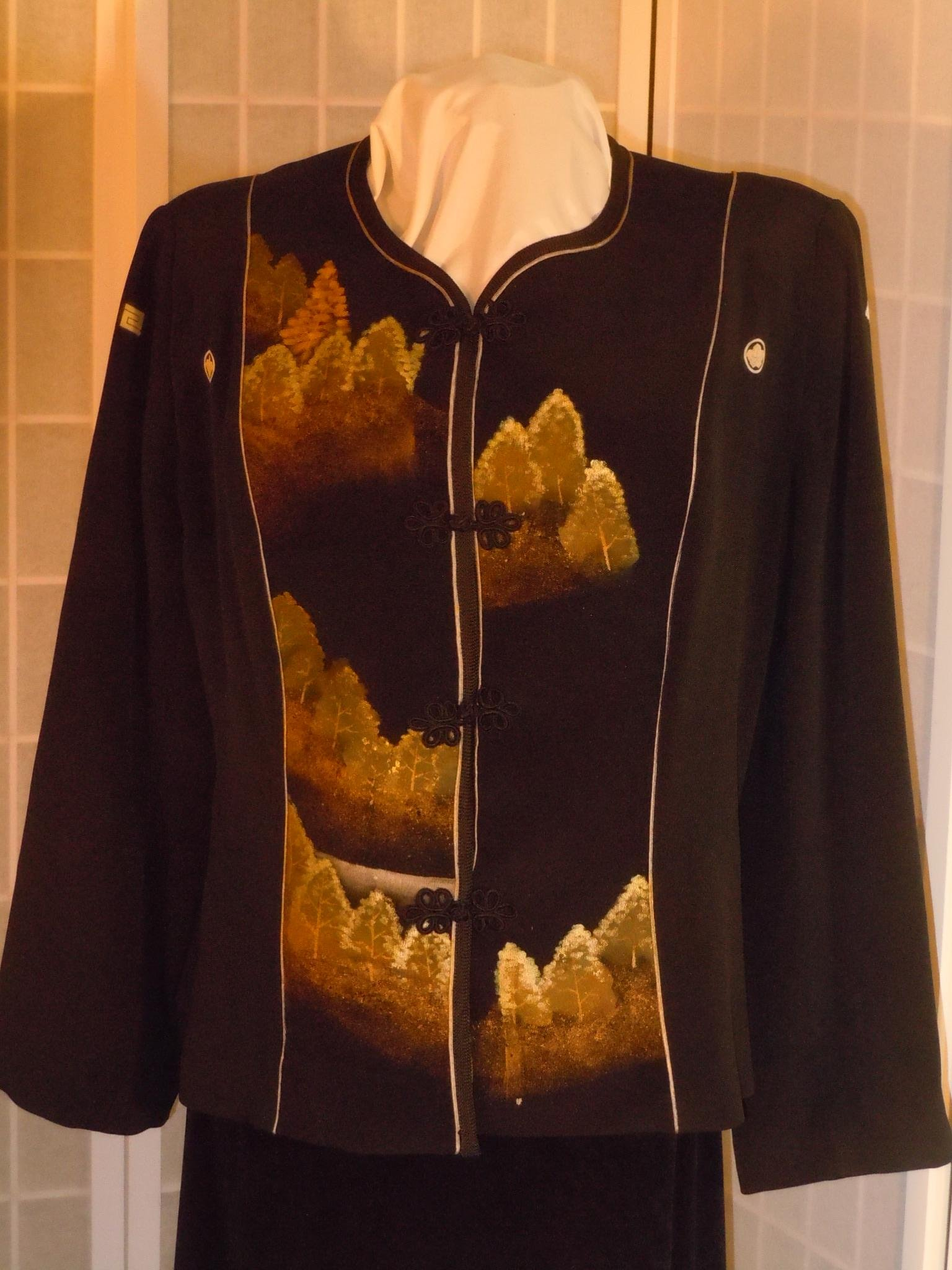 Silk jacket silk blazer size large ''golden forest'' hand painted hand embroidered from Japanese kimono #F58 by First Fruits Apparel