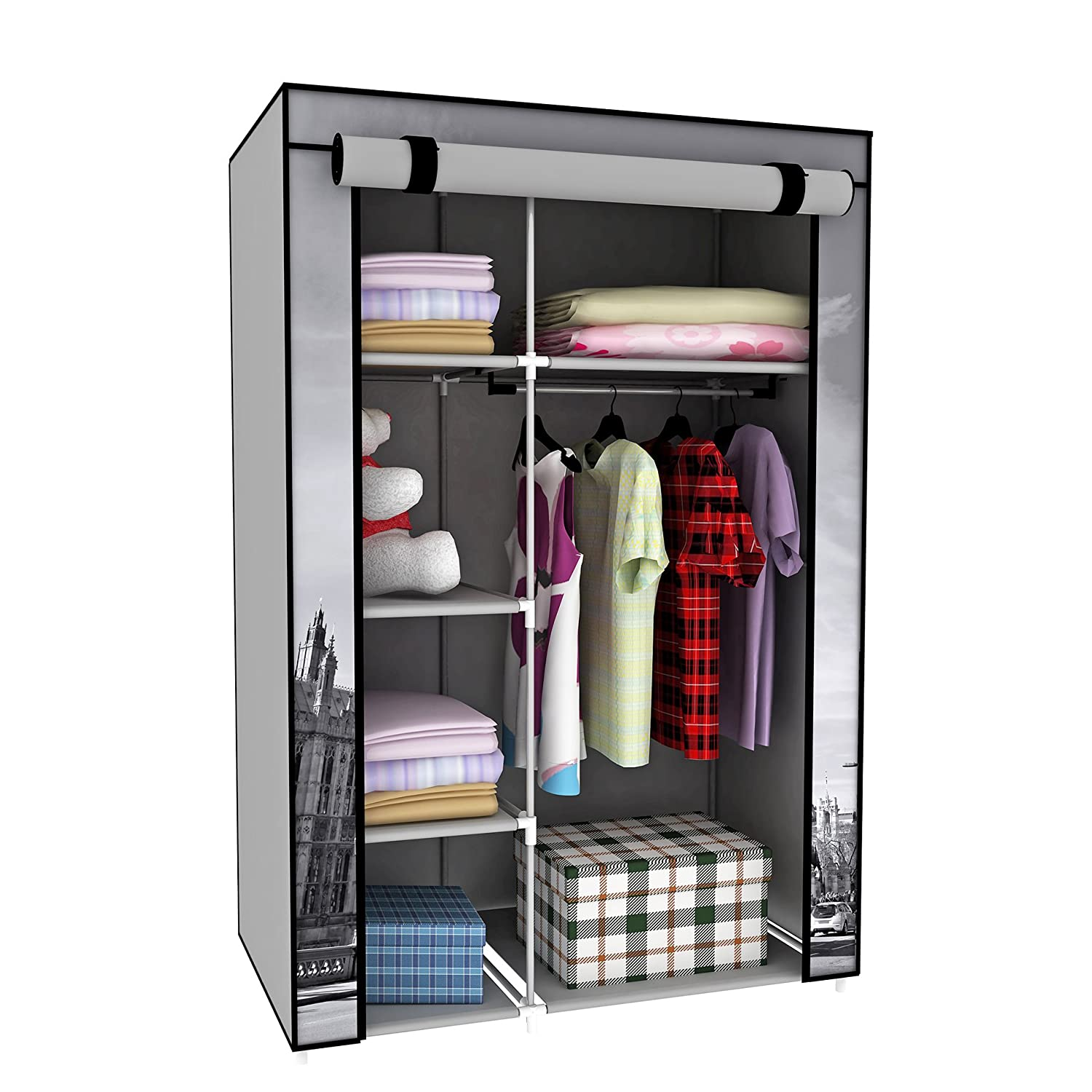 Amazon Switch Innovation Storage Closet Portable Temporary Clothing Wardrobe Free Standing Clothes Rack Non Woven Fabric Dresser Dorm Room Cupboard