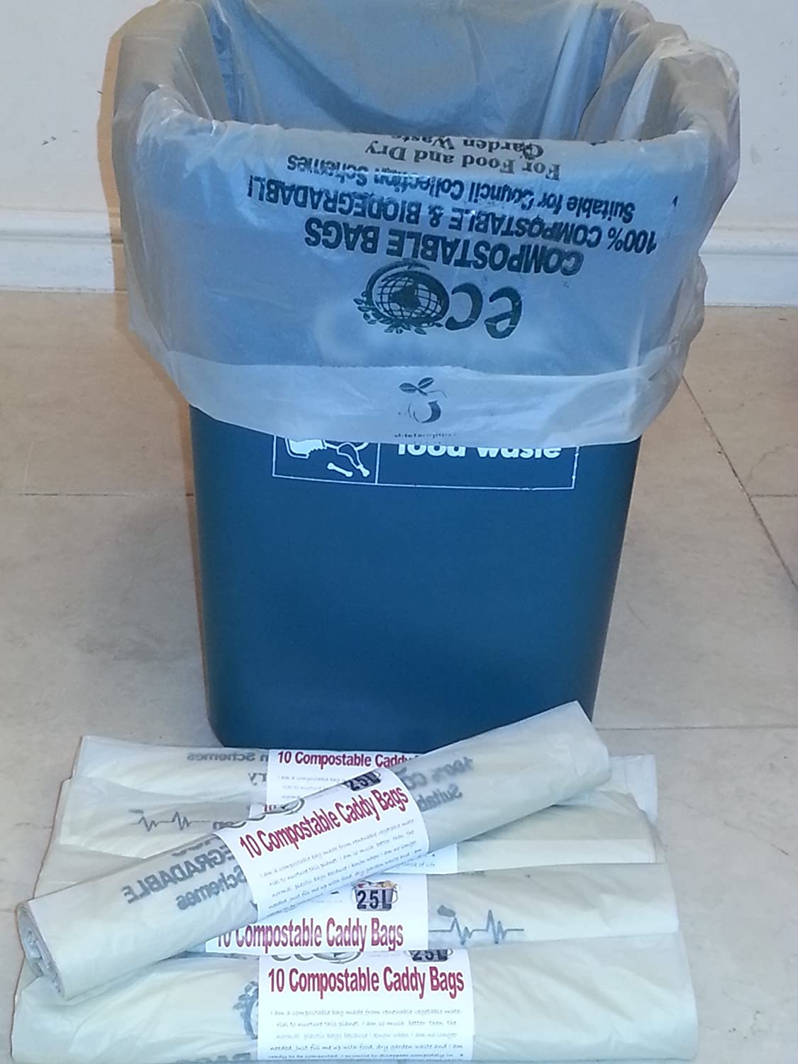 25-30 Litre Compostable Bags For Kerbside Caddy Bin Liners x 40 Bags by Eco Planet