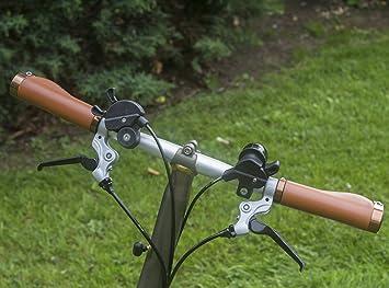 Mango ergonómico para Brompton Bicicleta Plegable Eco Piel Luz de bloqueo de aluminio marrón