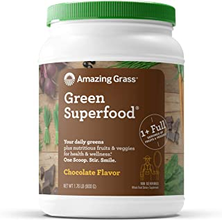 product image for Amazing Grass Green Superfood: Super Greens Powder with Spirulina, Chlorella, Digestive Enzymes & Probiotics, Chocolate, 100 Servings