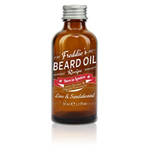 Freddie's Beard Oil 50 ml. 100% Natural, Organic, Vegan, Cruelty Free Beard Conditioning and Softener. Lime and Sandalwood (Lime and Sandalwood)