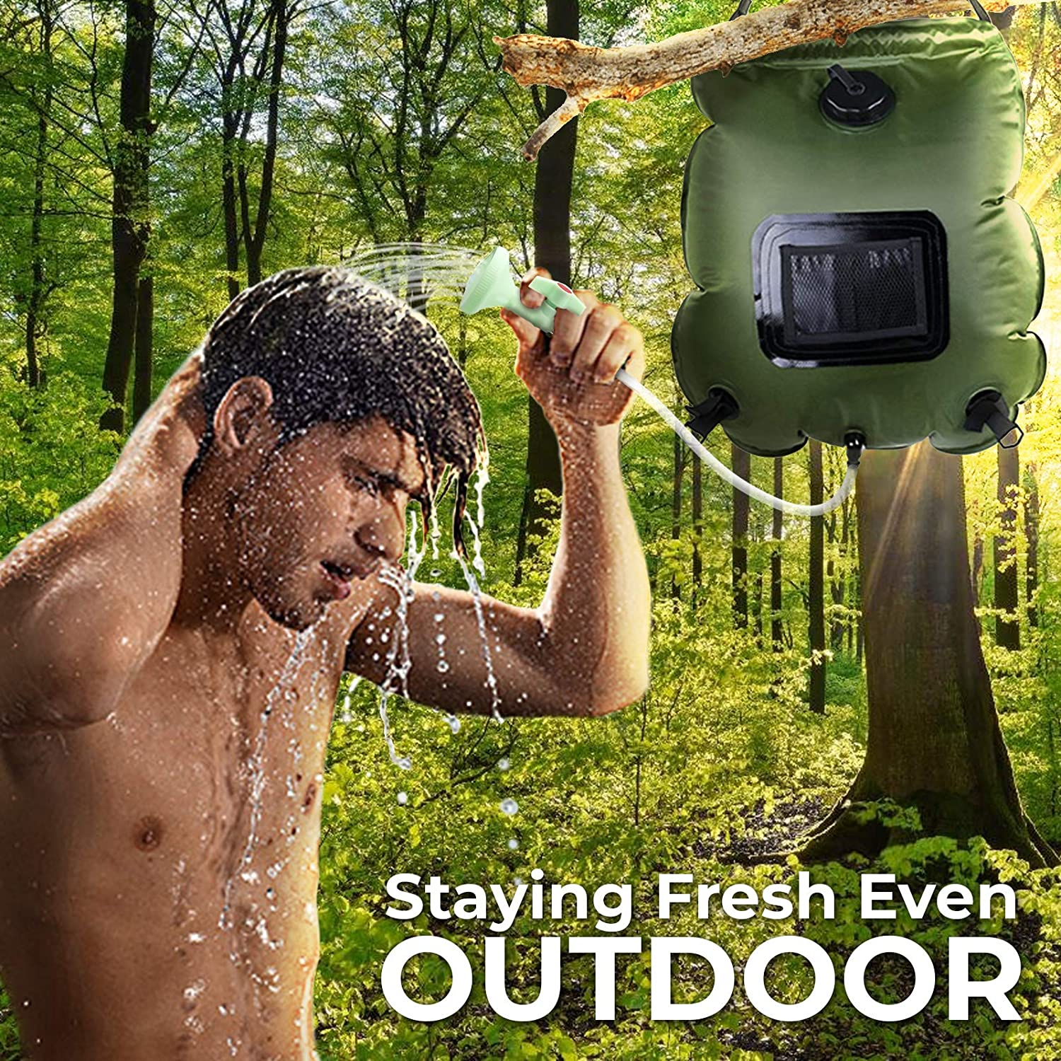 Off Switchable Shower Head and Removable Hose for Camping Hiking Traveling Beach Swimming Outdoor with 5 gallons//20L Solar Shower Bag ComfyDegree Shower Bag On