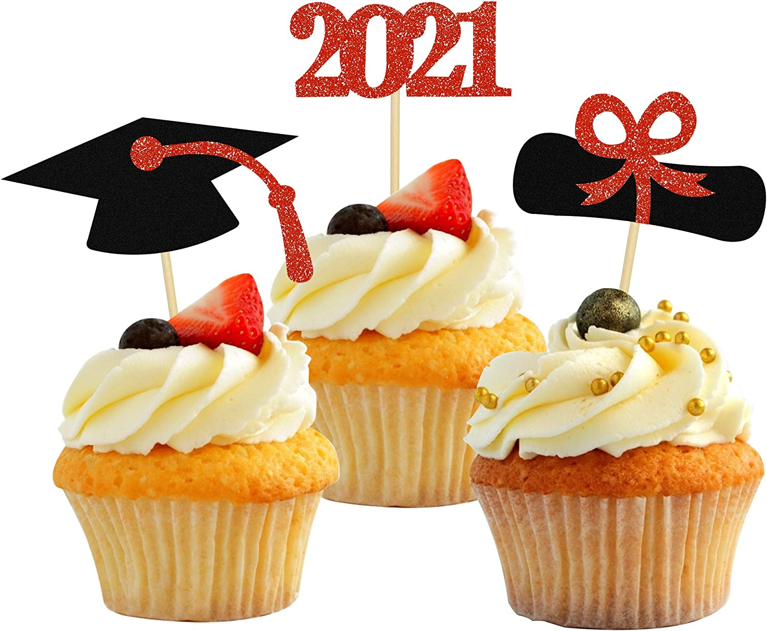 2021 Glitter Graduation Cupcake Topper, 48 PCS Red Cake Decorations 2021 Diploma Grad Cap Cake Toppers Food Picks for Graduation Party Supplies