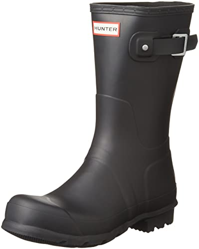Hunter Mens Original Short Rain Boots Black 7 M