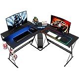 BestierL-Shaped Led Gaming Computer Desk,RGB Strip Light Modern Corner PC Laptop Desk Study Table Workstation Home Office De