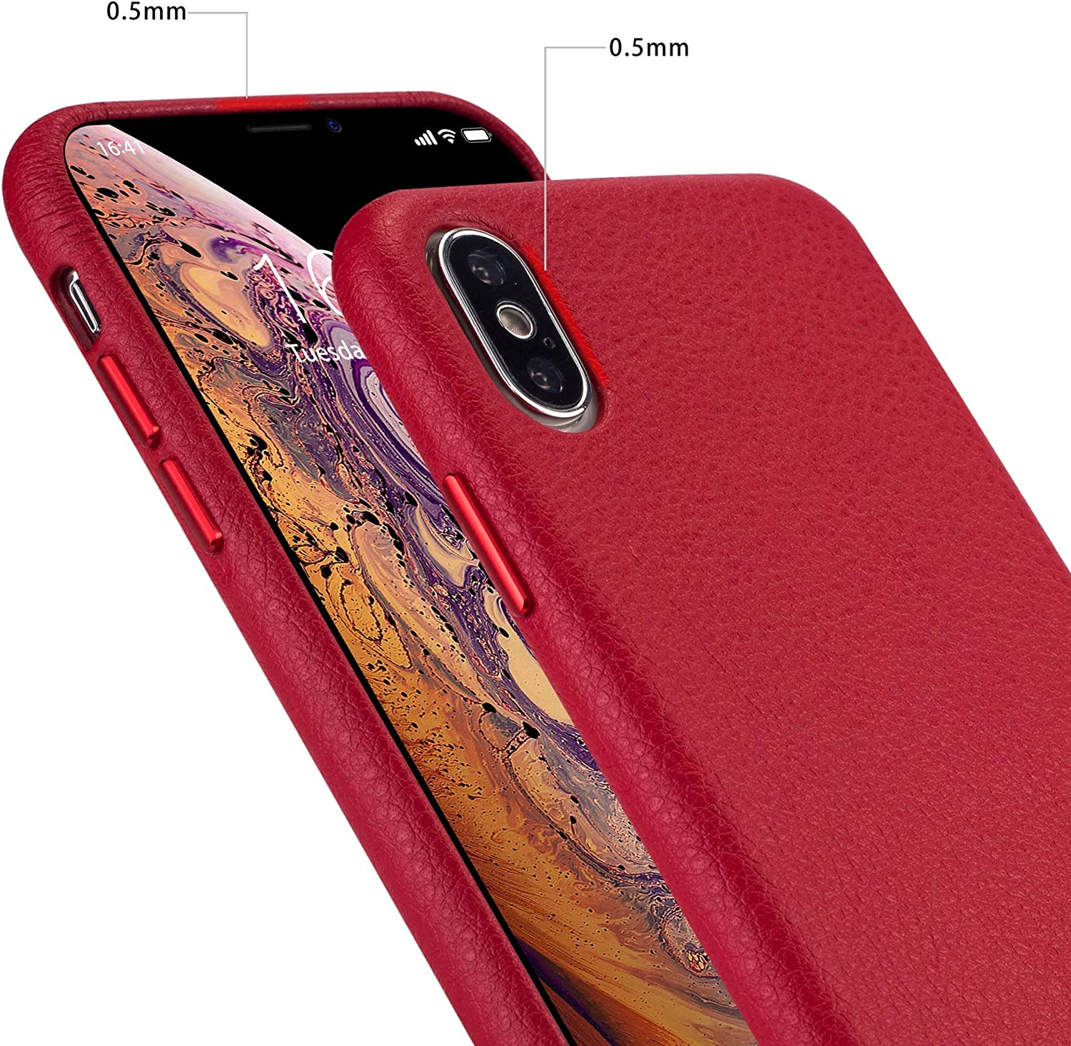 rejazz iPhone x Case iPhone Xs Case Anti-Scratch iPhone x Cover iPhone Xs Cover Genuine Leather Apple iPhone Cases for iPhone x/xs (5.8 Inch)(Red)