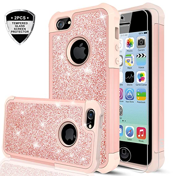 new style d9715 c1cb1 iPhone 5C Case with Tempered Glass Screen Protector [2 Pack],LeYi Glitter  Bling Cute Girls Women Dual Layer Heavy Duty Protective Phone Case for ...