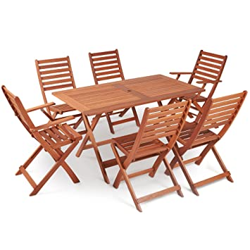 VonHaus 6 Seater Wooden Dining Set - Rustic Table and 6 Chair Garden ...