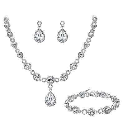 Clearine Women's Wedding Bridal Teardrop CZ Infinity Figure 8 Y-Necklace Tennis Bracelet Dangle Earrings Set 6M8yQsIzMT