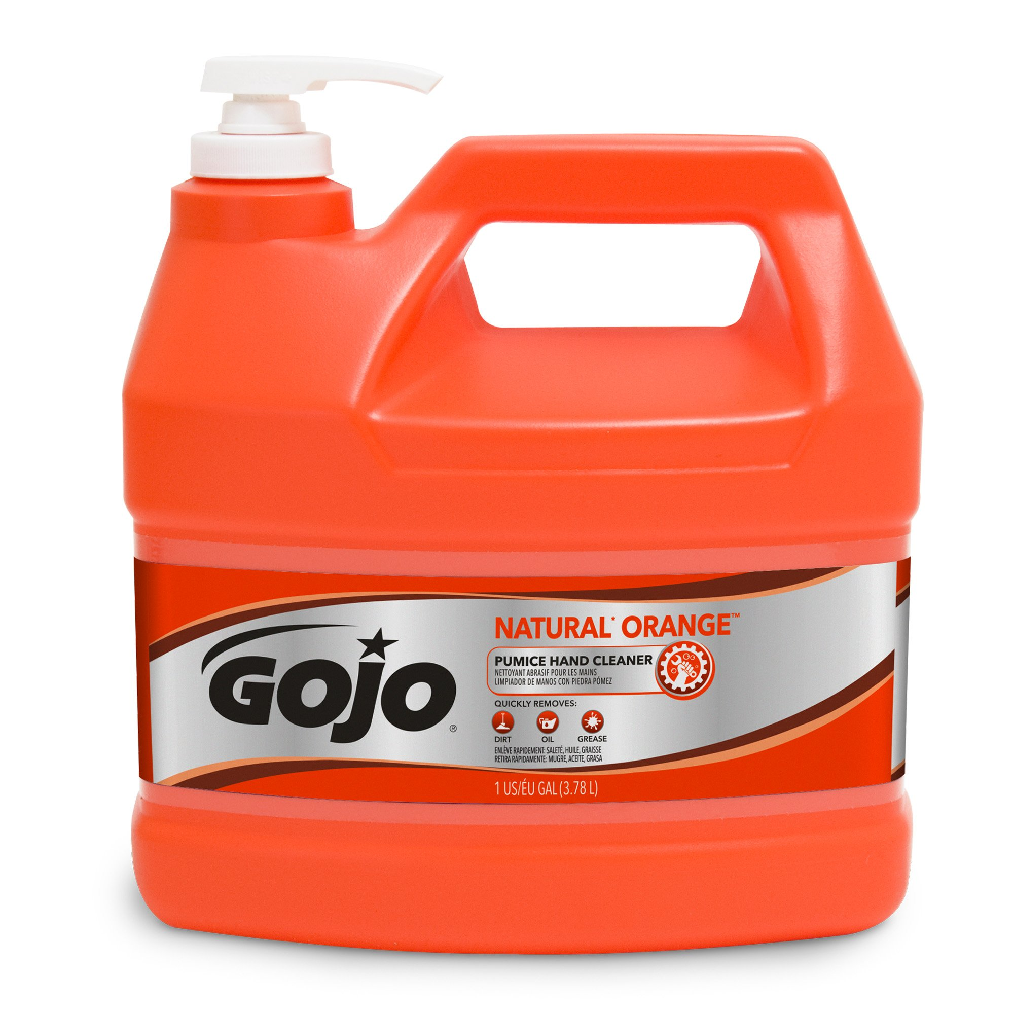 GOJO NATURAL ORANGE Pumice Industrial Hand Cleaner, 1 Gallon Quick Acting Lotion Hand Cleaner with Pumice Pump Bottle - 0955-04 by Gojo
