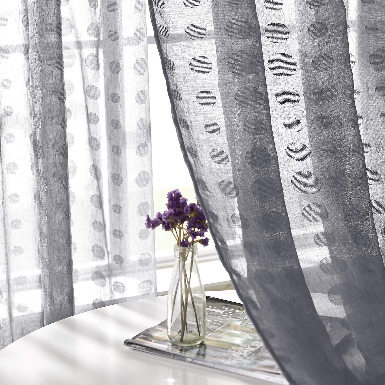 Deconovo Tende Trasparenti Ricamate in Voile con Occhielli per Porta Finestre 140x138cm 2 Pannelli Grigio