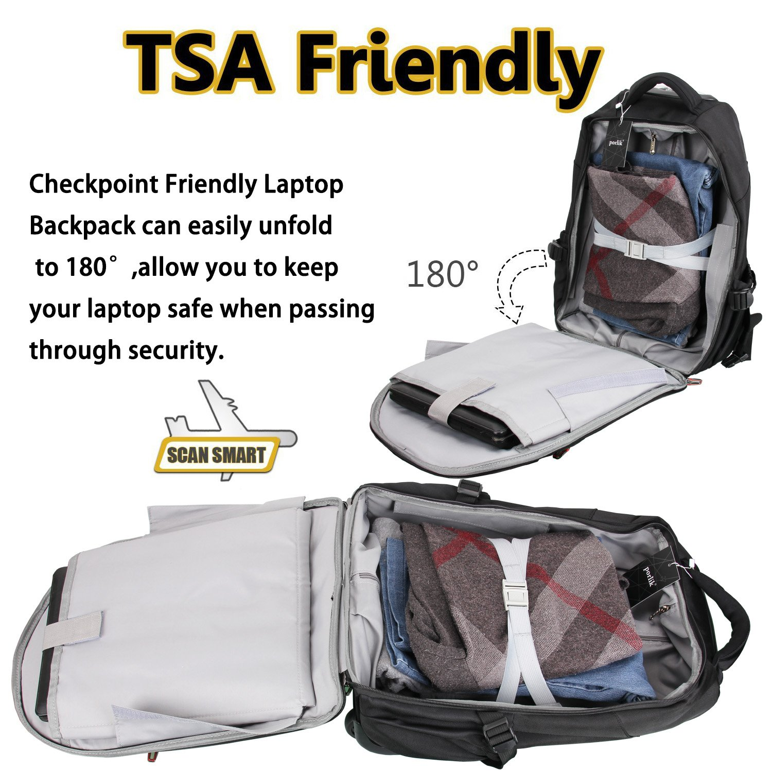 "a858b2769462 Amazon.com  19"" Rolling Carry-on Luggage Travel Duffel Bag for Men,TSA  Checkpoint Friendly Wheeled Backpack"