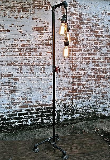 ZXLDD Lámpara de pie Vintage Industrial, Viento, Retro, Agua ...