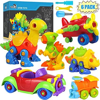 Dinosaur Toys Take Apart Toys With Tools Pack of 6 Dinosaurs - 218 pieces