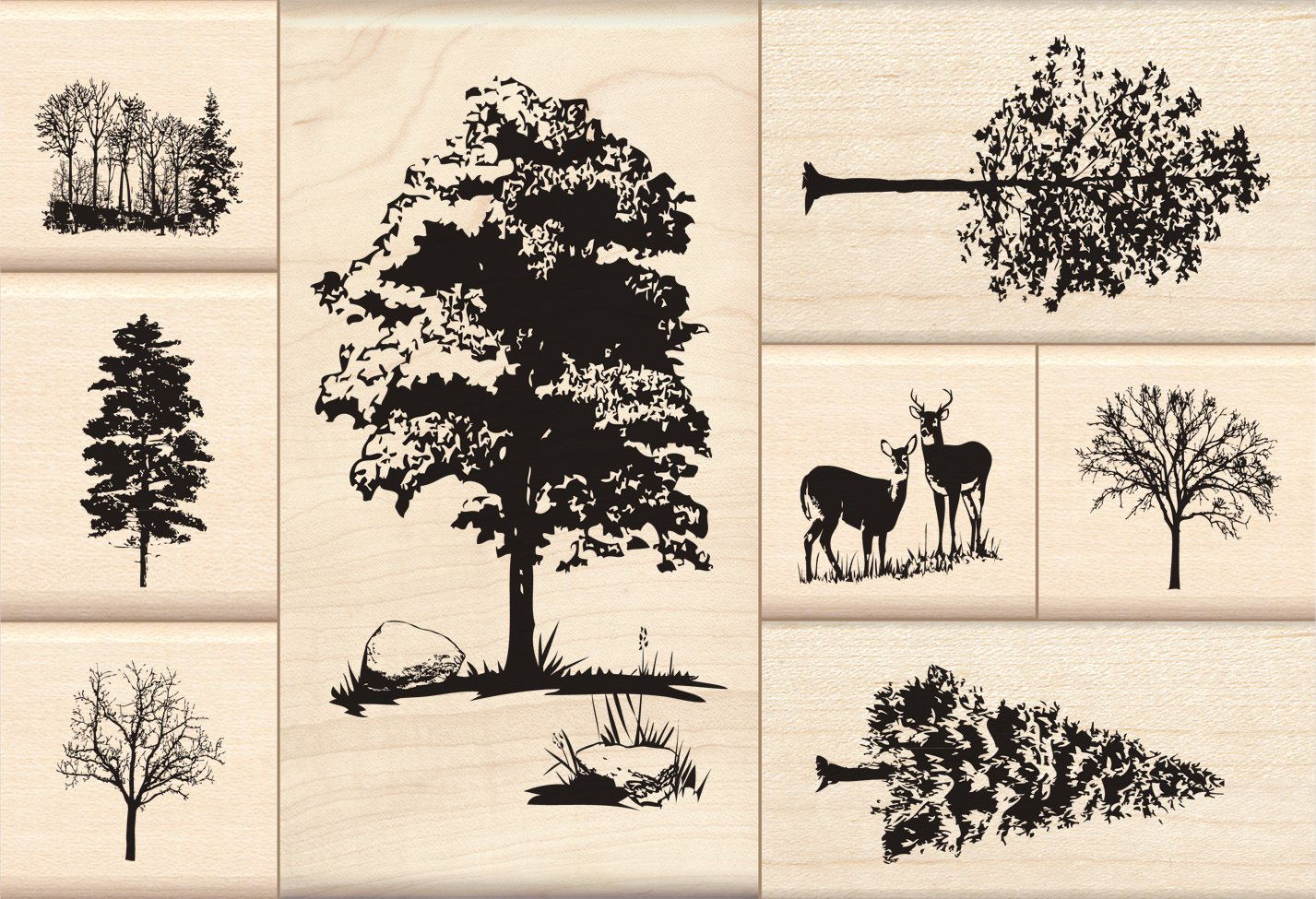 Inkadinkado Trees Wood Stamp Set EKS 60-10051