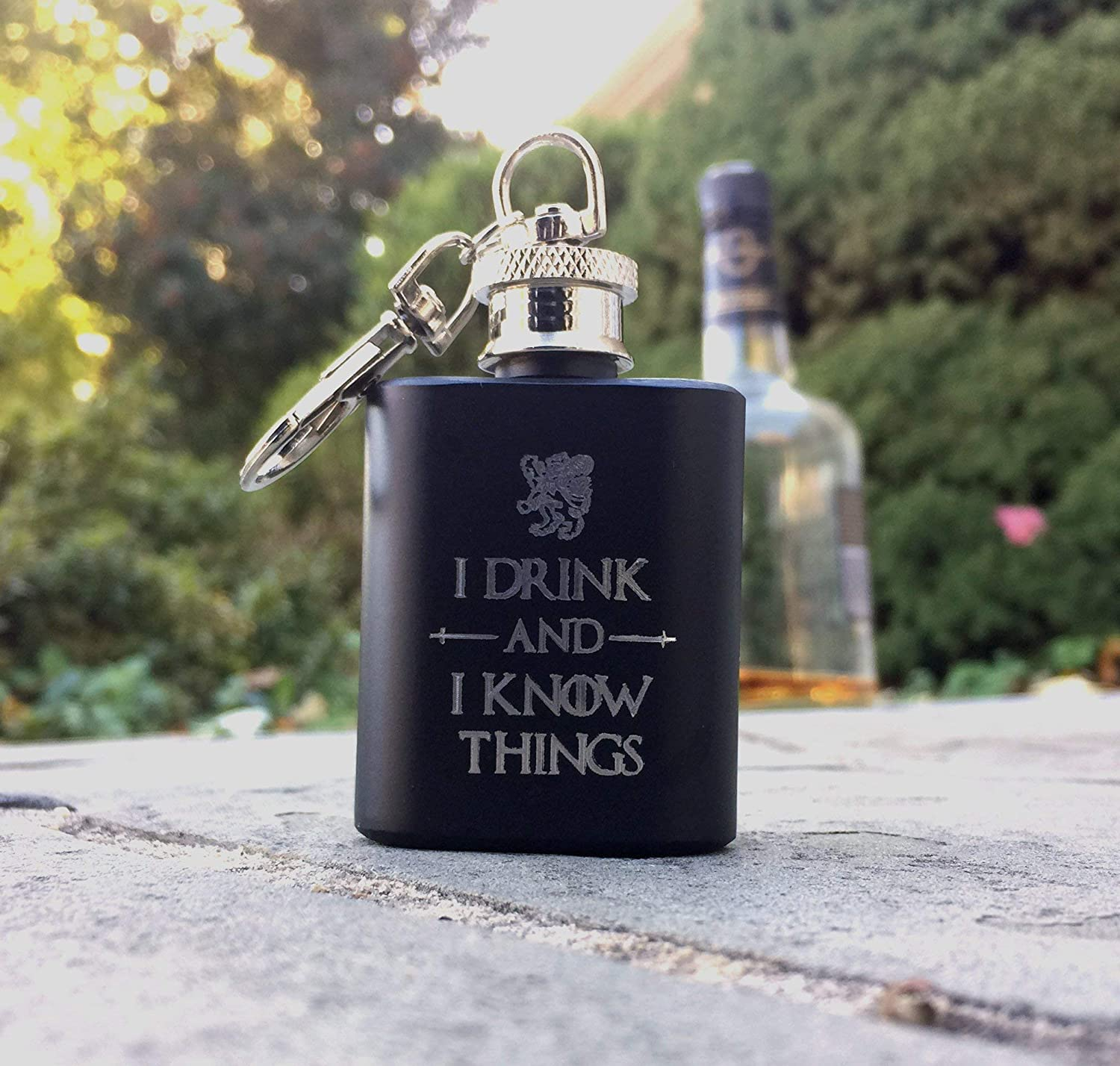 I Drink and I Know Things Mini Hip Flask Personalized /& Engraved
