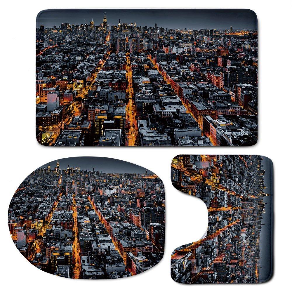 3 Piece Bath Mat Rug Set,City,Bathroom Non-Slip Floor Mat,Avenues-Converging-Towards-Midtown-in-New-York-America-Architecture-Aerial,Pedestal Rug + Lid Toilet Cover + Bath Mat,Marigold-Grey-Black