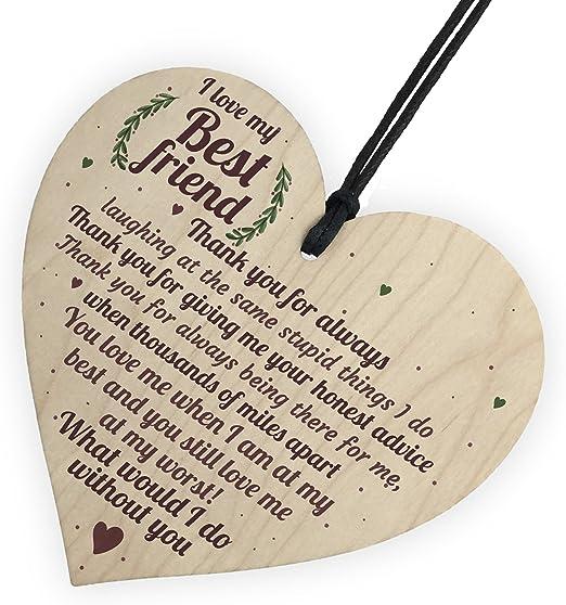 Craftworks Originals Best Friends cuore in legno Keepsake Gift Plaque//Sign