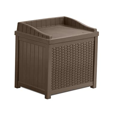 Suncast SS1000 22 Gallon Resin Storage Seat-Contemporary Indoor and Outdoor Bin Stores Tools, Toys, and Accessories-Mocha Wicker