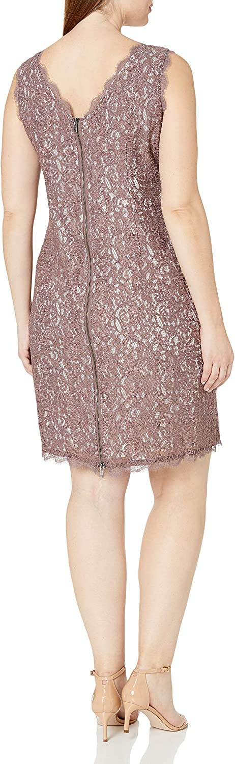Adrianna Papell Womens Plus-Size Sleeveless Short Lace Cocktail Dress