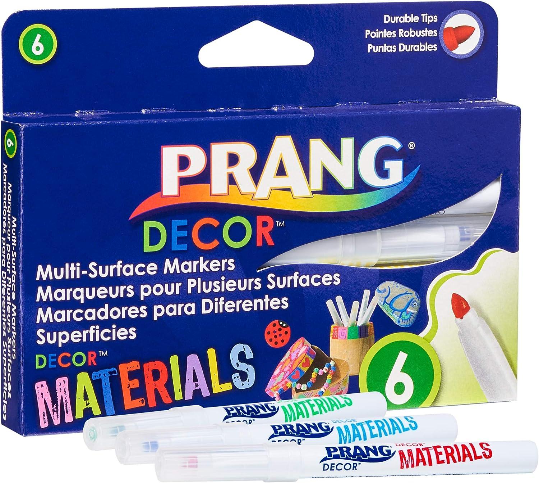 PRANG Decor Multi-Surface Art Craft Markers, (Chalkboard, Wood, Glass, Plastic, Clay, Metal), Medium Tip, 6-Color Set (74006)