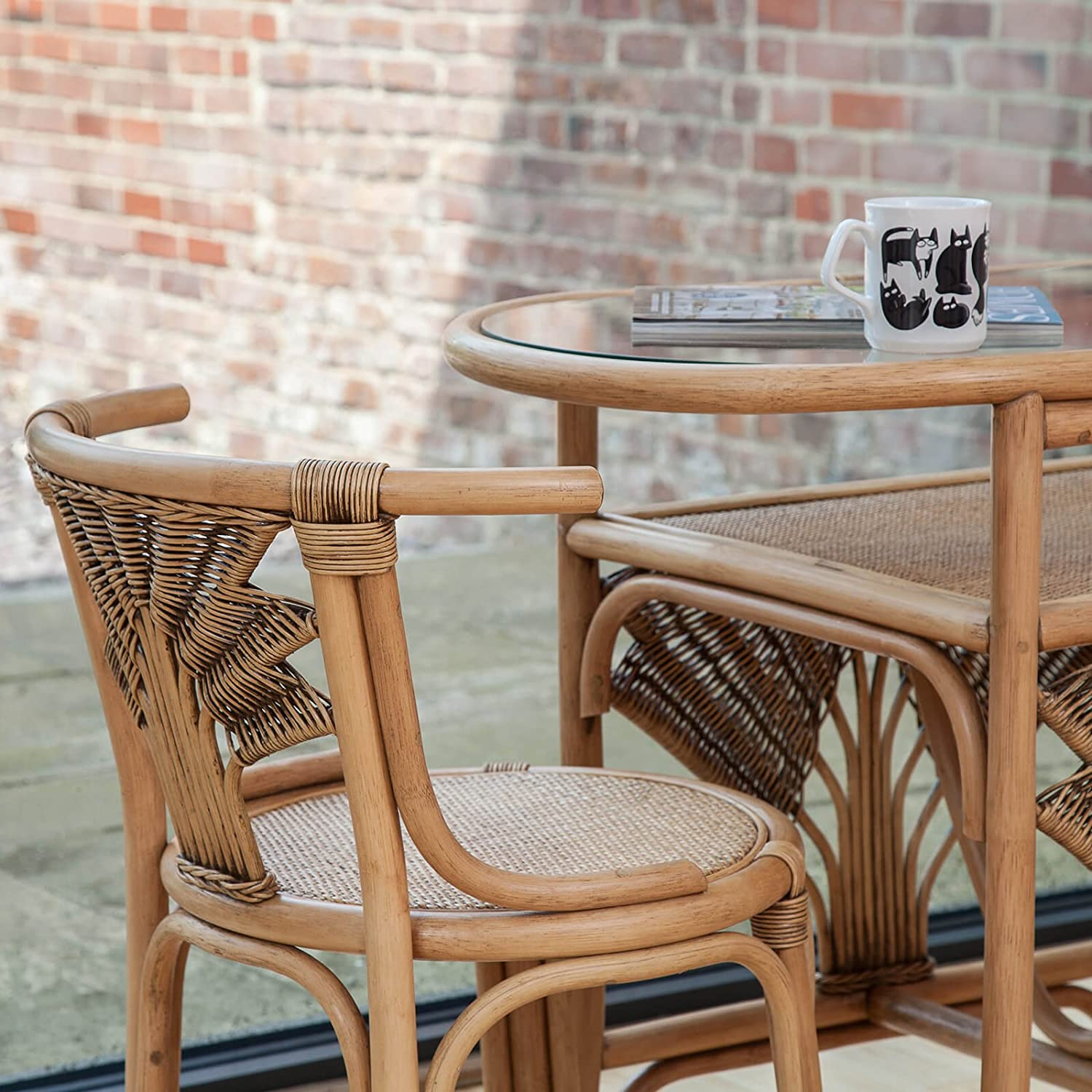 Atlanta Cane Wicker Dining Breakfast Table Chair Set for 2: Amazon ...