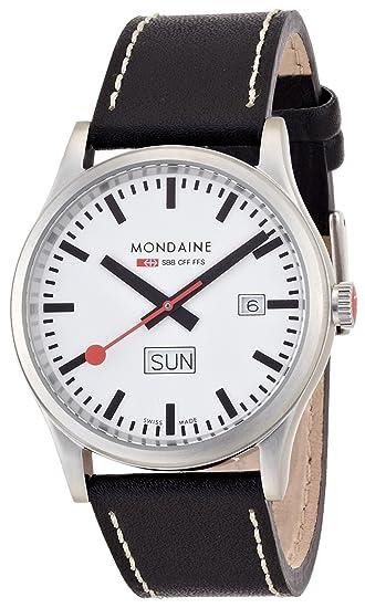 Mondaine SBB Sport Day Date 41mm A667.30308.16SBB Reloj de pulsera Cuarzo Hombre correa de Cuero Negro: Amazon.es: Relojes