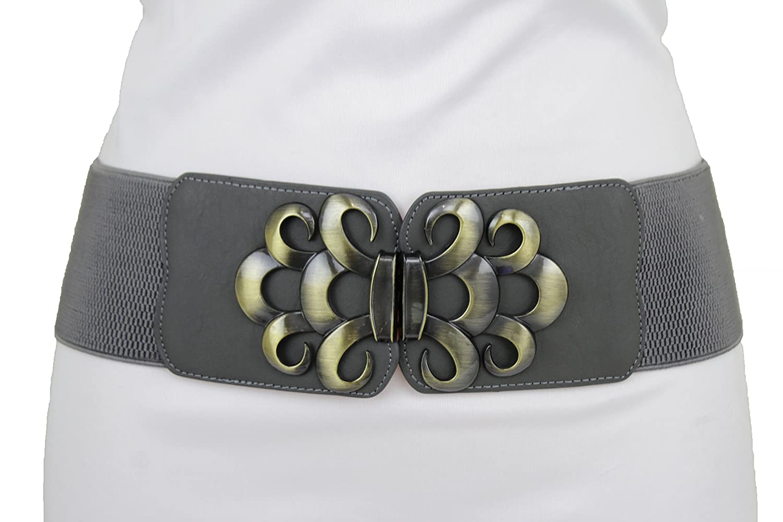 TFJ Women Fashion Belt Wide Metal Chain Thick Hip High Waist Gold Plates XS S M L wmb gold mesh chains