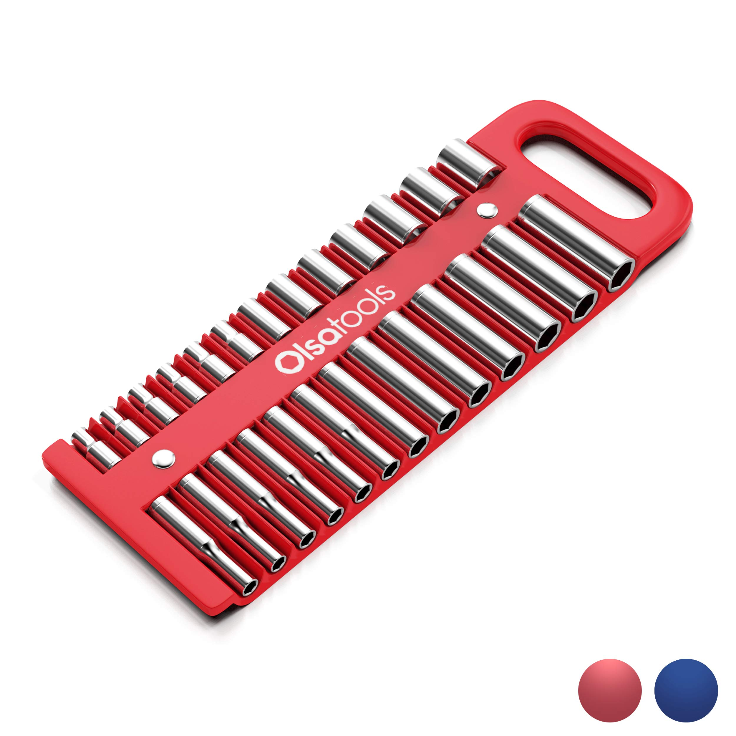 Olsa Tools Magnetic Portable Socket Organizer Tray | 1/4-inch Drive | Red | Fits Deep & Shallow Sockets | Holds sockets up to 5/8'' SAE / 14mm Metric | Premium Quality Tool Organizer by Olsa Tools
