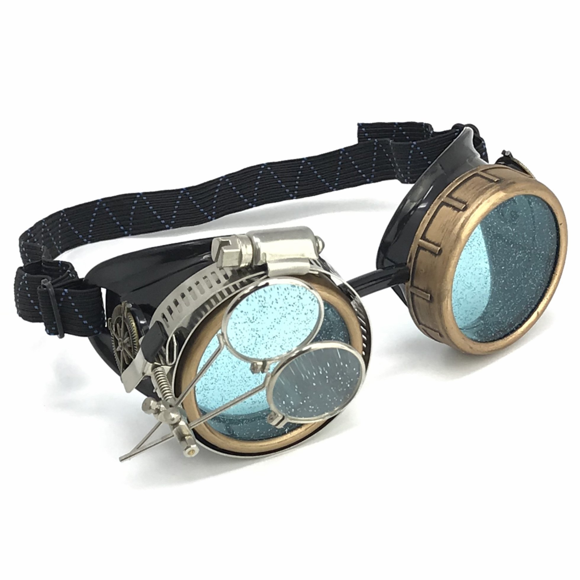 Steampunk Goggles/Rave Holographic Blue Glasses with Compass Design and Double Ocular Loupe