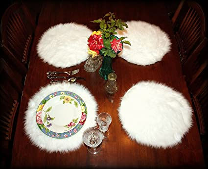 ea537b5175 Amazon.com  FUR ACCENTS Plush Faux Fur Placemats Set of 4 White Shag ...