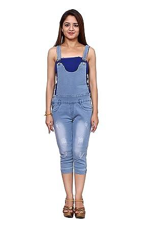 10a279a9d31 FNOCKS Women Ladies Kids   Girls Denim Slim Fit Casual Capri Dangri Shorts  (Light Blue