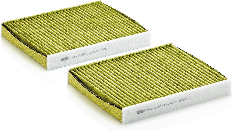 Original Mann Filter Innenraumluftfilter Fp 2533 2 Freciousplus Biofunktionaler Pollenfilter 2er Set Für Pkw Auto