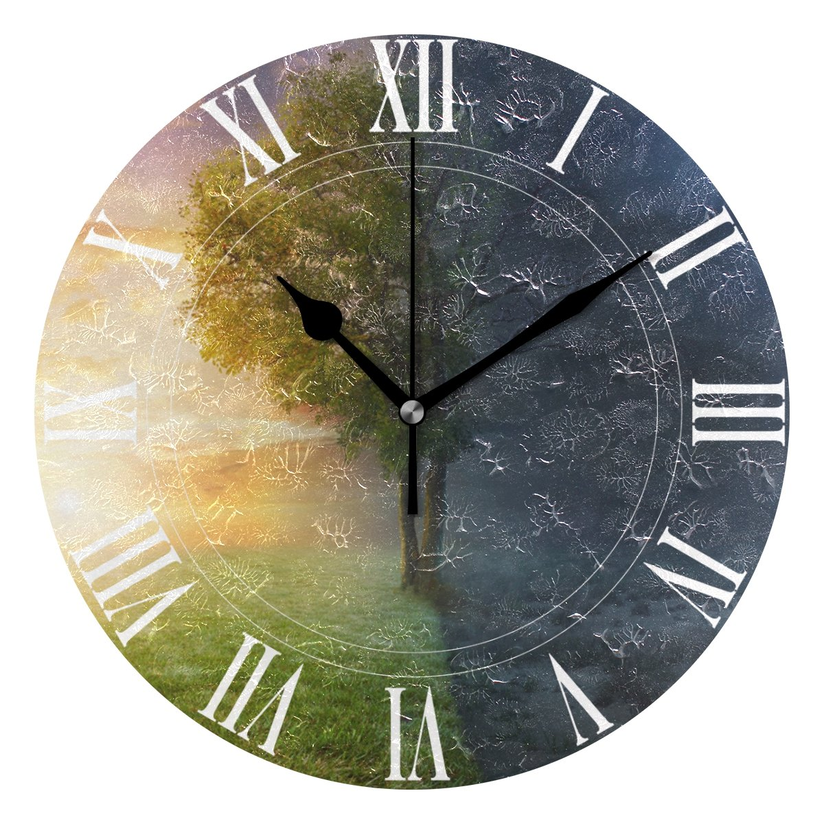 WellLee Night Day Landscape Life Tree Clock Acrylic Painted Silent Non-Ticking Round Wall Clock Home Art Bedroom Living Dorm Room Decoration by WellLee (Image #1)