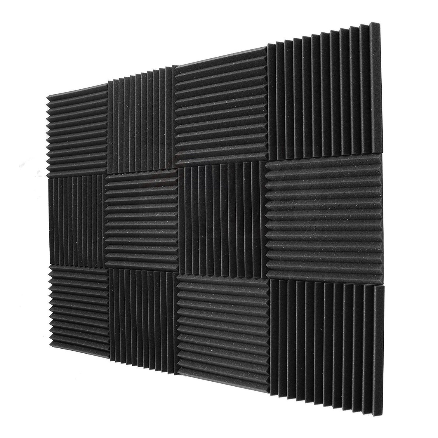 SODIAL 12 Pack- Acoustic Panels foam Engineering sponge Wedges Soundproofing Panels 1inch x 12 inch x 12inch 146085