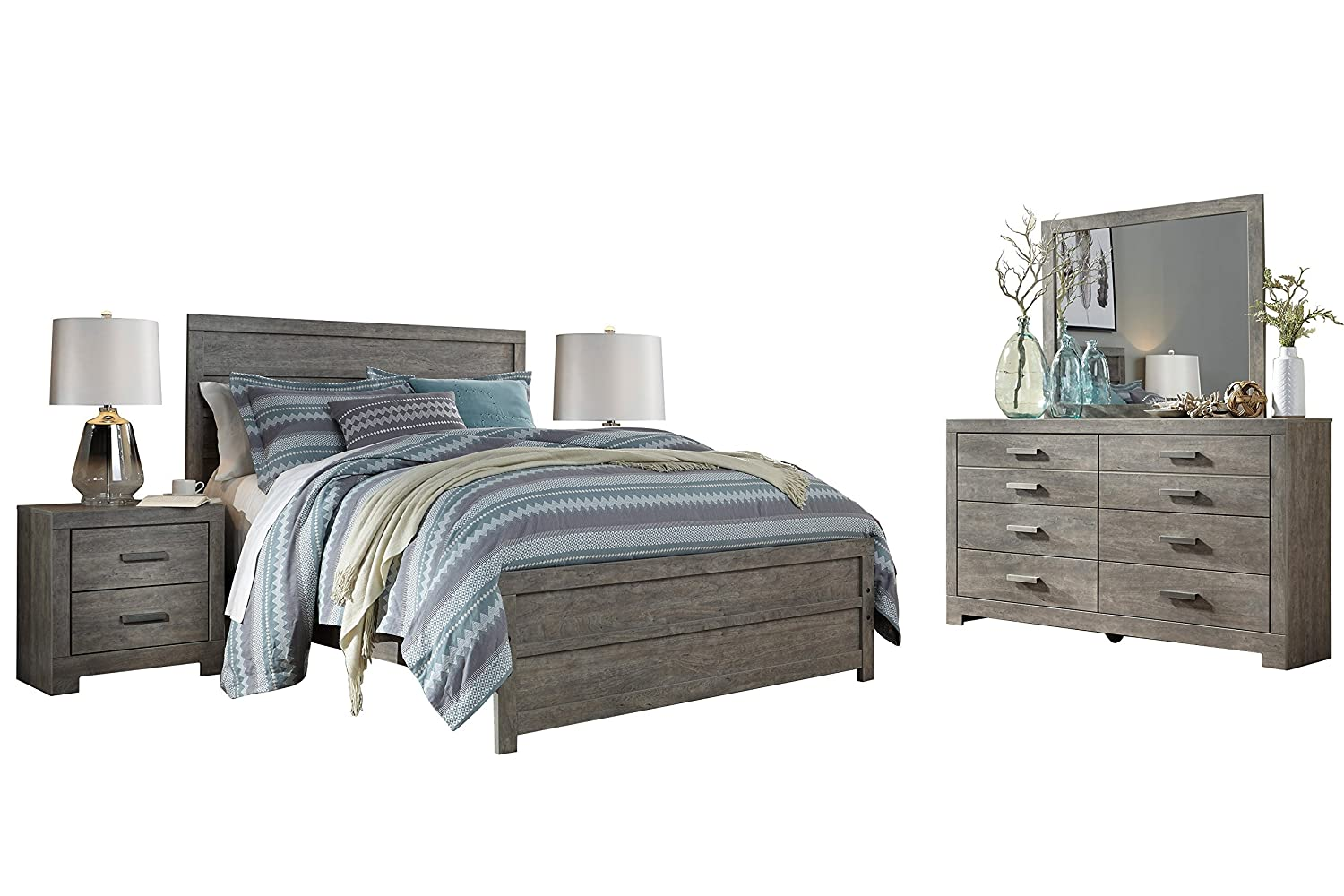 Amazon com ashley culverbach 5pc queen panel bedroom set with two nightstands in gray kitchen dining