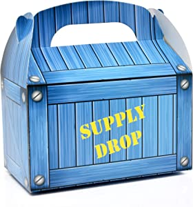Supply Drop Favor Box 48 Count Battle Gamer Treat Boxes Blue Crate Mystery Cardboard Holder for Video Game Controller Girl Boy Kids Birthday Party Supplies Decor Gaming Candy Cookie Gable Container