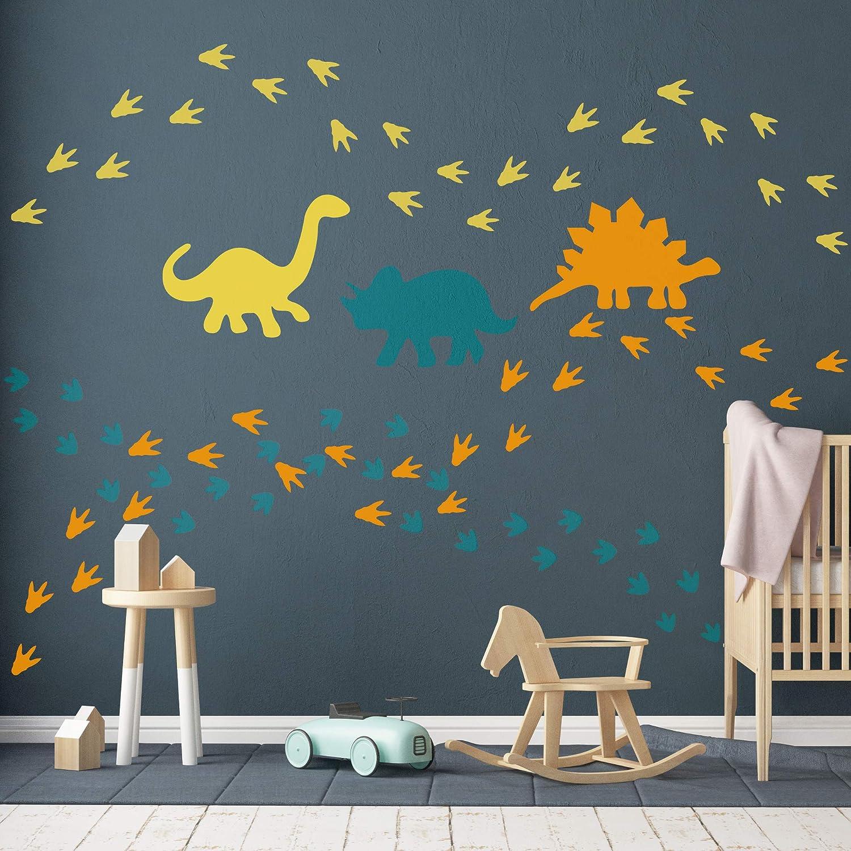 MozamyCreative Dinosaur Footprints Wall Decals Dinosaur Wall Decals Dinosaur Tracks Decals Removable Peel and Stick Wall Decals Matte Black 32 Count