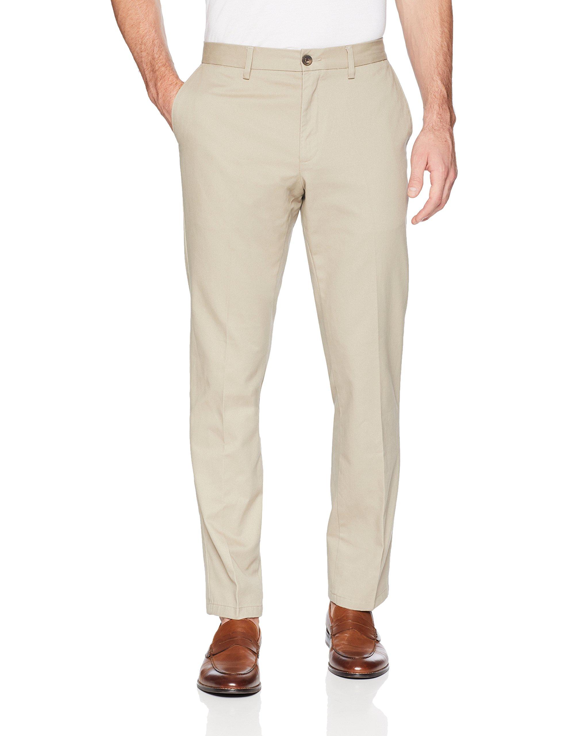 Amazon Essentials Men's Slim-Fit Wrinkle-Resistant Flat-Front Chino Pant, Khaki, 30W x 28L by Amazon Essentials