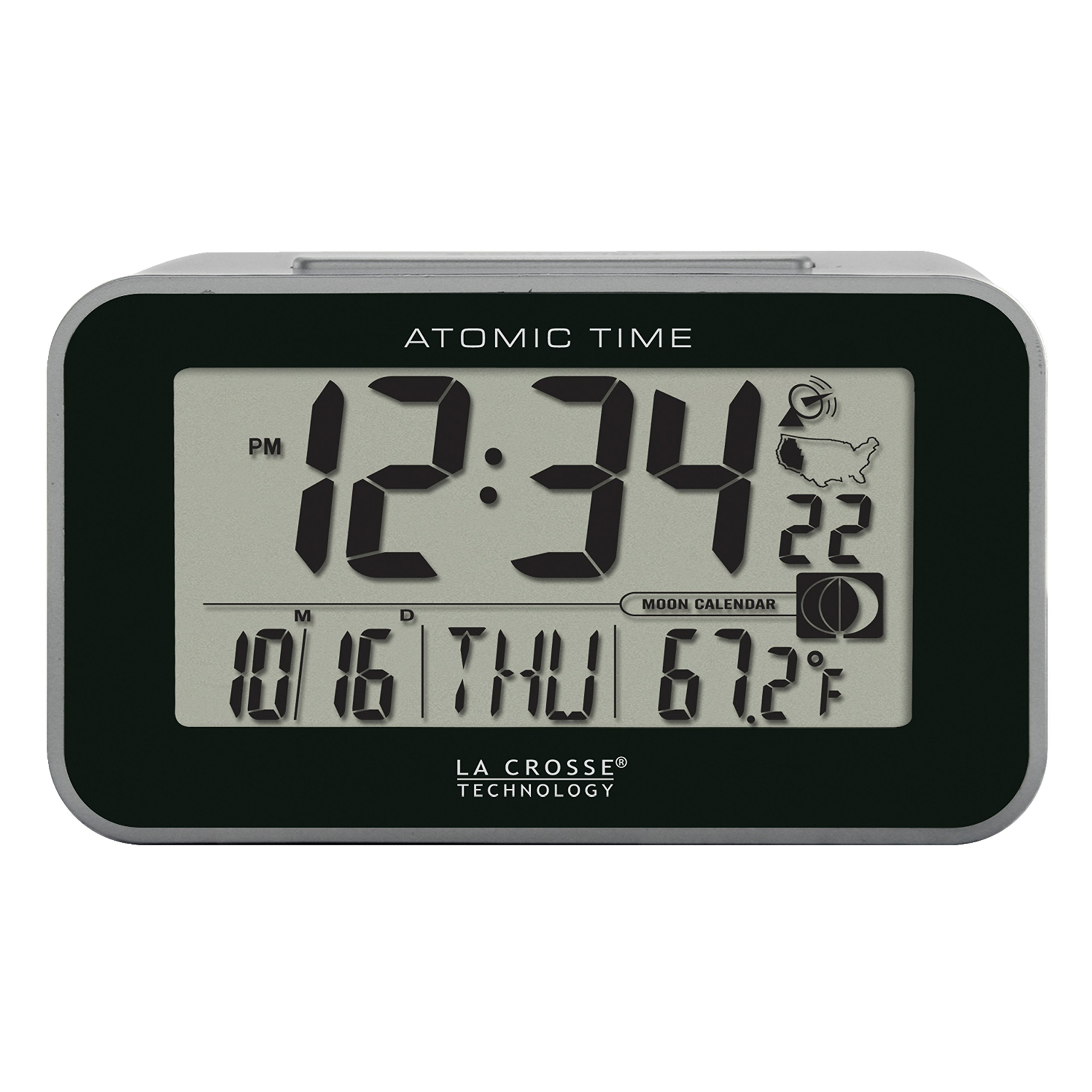 La Crosse Technology 617-1270 Atomic Digital Alarm Clock, Black