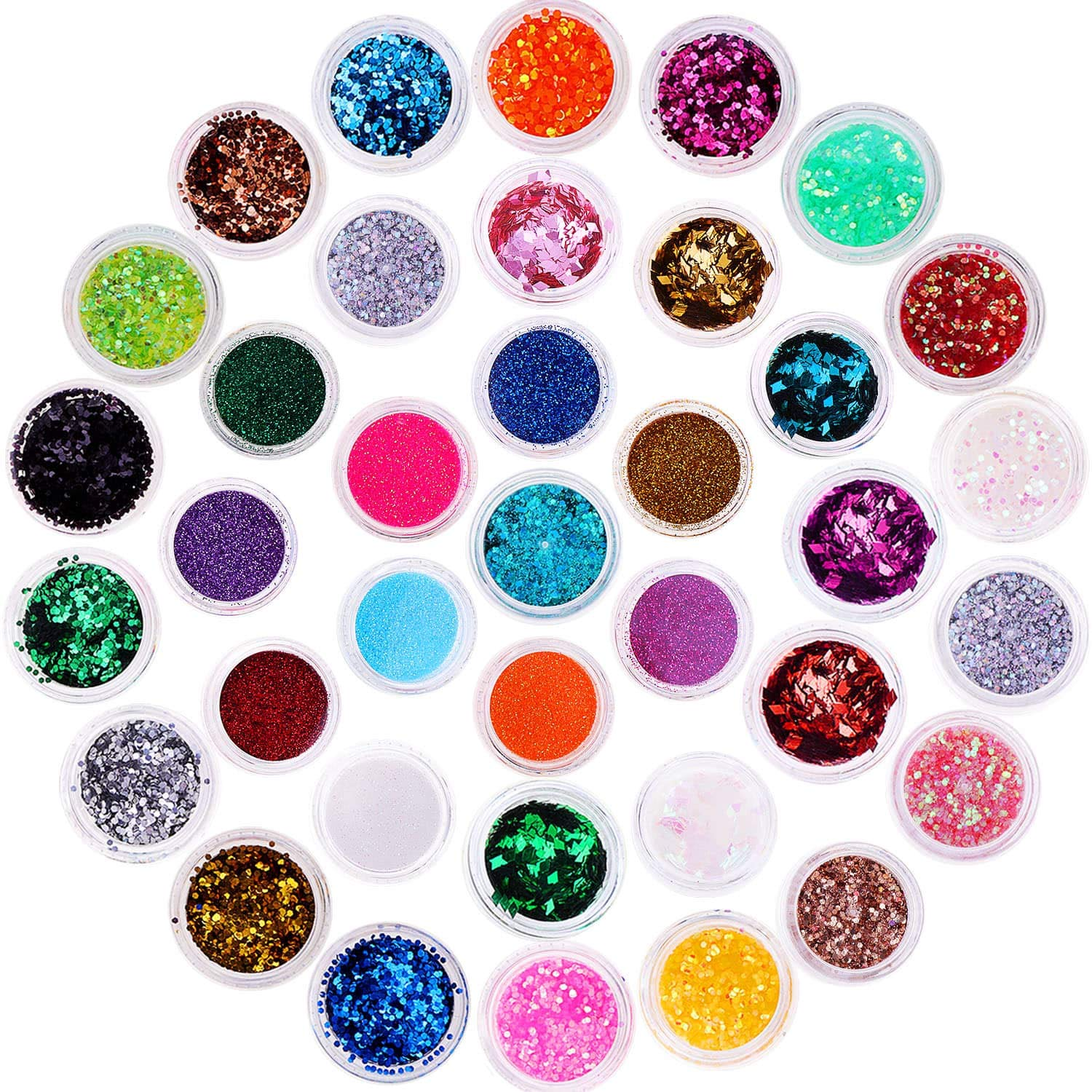 Chunky Glitter, Anezus 67Pcs Holographic Glitter with Fine Festival Glitter in Different Sizes and Dotting Tools for Cosmetic Nail Art Hair Craft and Slime by anezus