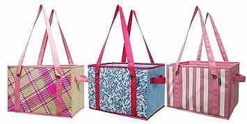 Earthwise reutilizable bolsa de la compra caja Deluxe plegable rosa Plaid  Fashion Tote con fondo de 2c9b087f83c7
